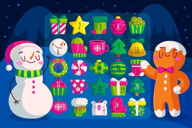 Calendario de adviento de diseño plano con muñeco de nieve y hombre de jengibre vector gratuito