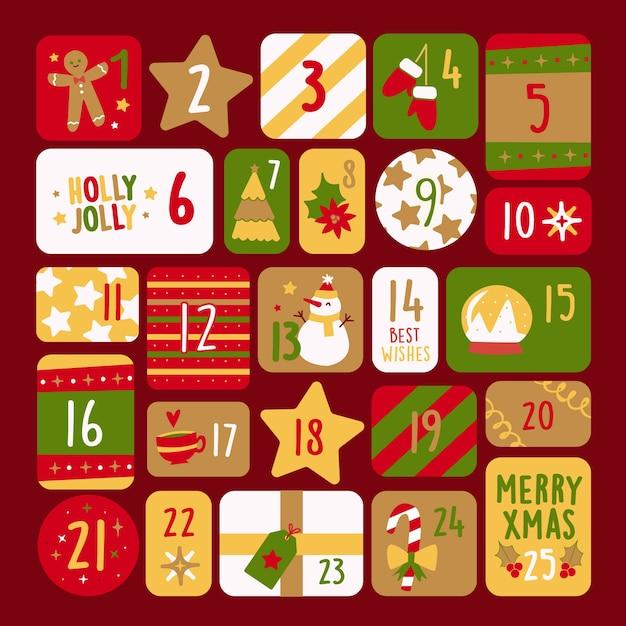Calendario de adviento en diseño plano vector gratuito