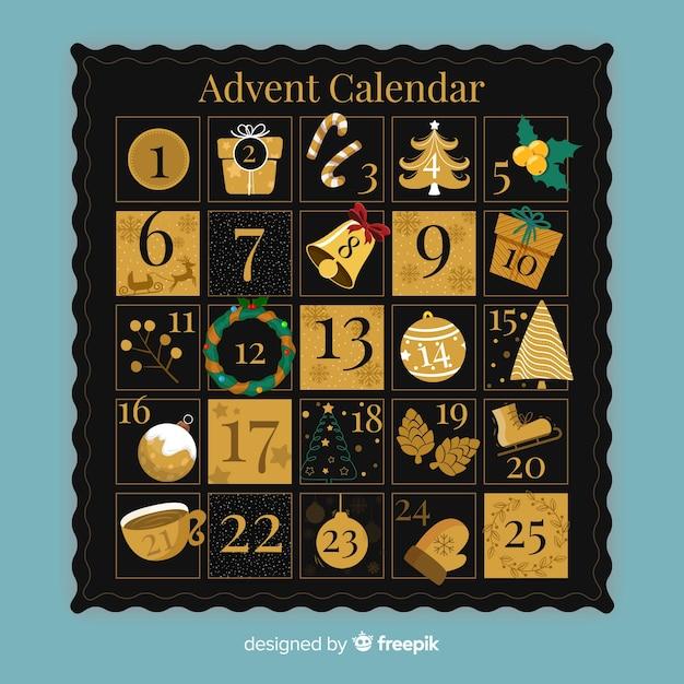 Calendario adviento dorado vector gratuito