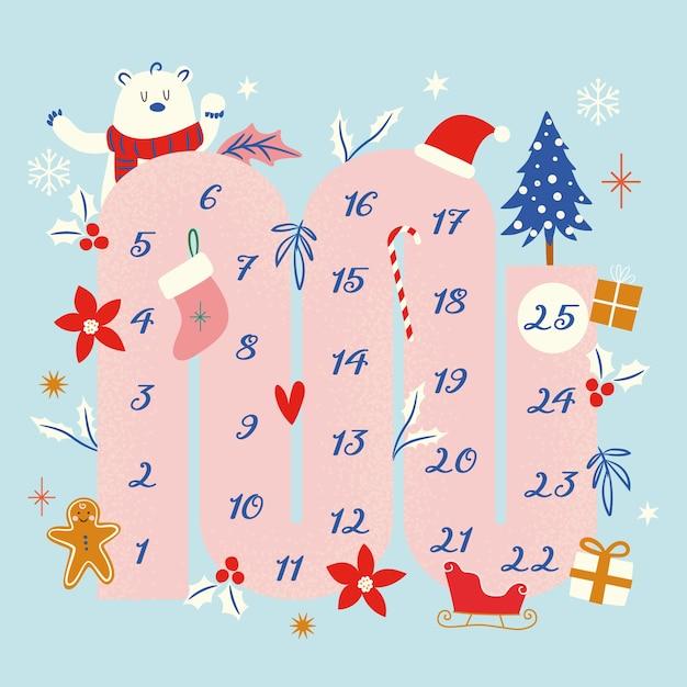 Calendario de adviento festivo dibujado a mano vector gratuito