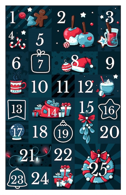 Calendario Adviento 2020.Calendario De Adviento Navideno Con Lindas Ilustraciones De Doodle