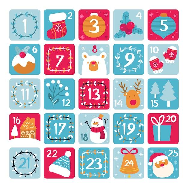Calendario de adviento plantilla dibujada a mano vector gratuito