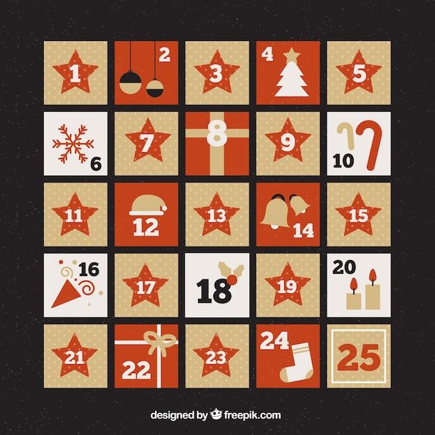 Calendario de adviento en rojo y beige vector gratuito