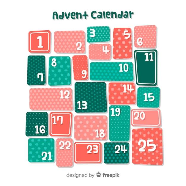 Calendario de adviento vector gratuito