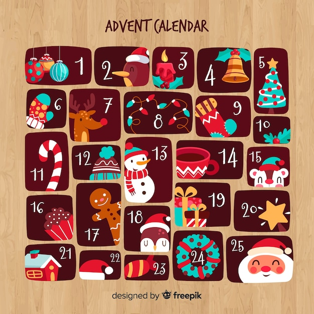 Calendario de adviento vector gratuito