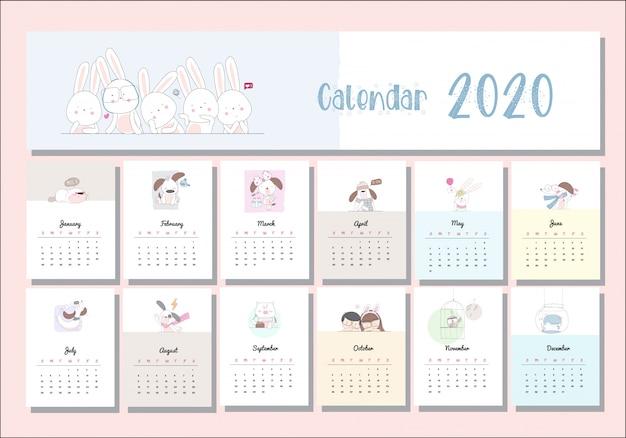 Calendario animal de dibujos animados lindo set 2020 Vector Premium
