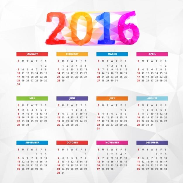 Calendario 216.Calendario De Ano Nuevo 2016 Colorido Poligonal Descargar