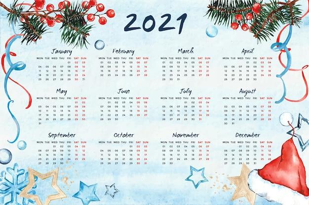 Calendario de año nuevo 2021 en acuarela Vector Premium