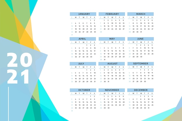 Calendario de año nuevo 2021 realista Vector Premium