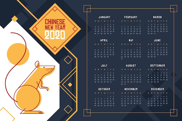 Calendario del año nuevo chino en tonos azules oscuros vector gratuito