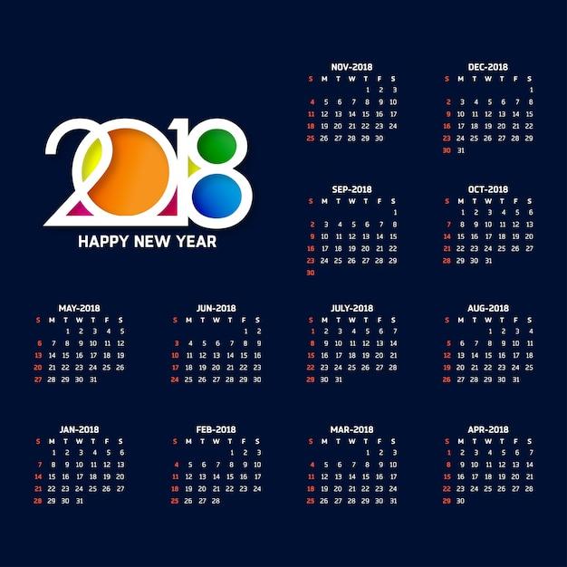 Calendario azul oscuro tipográfico para 2018 Vector Gratis
