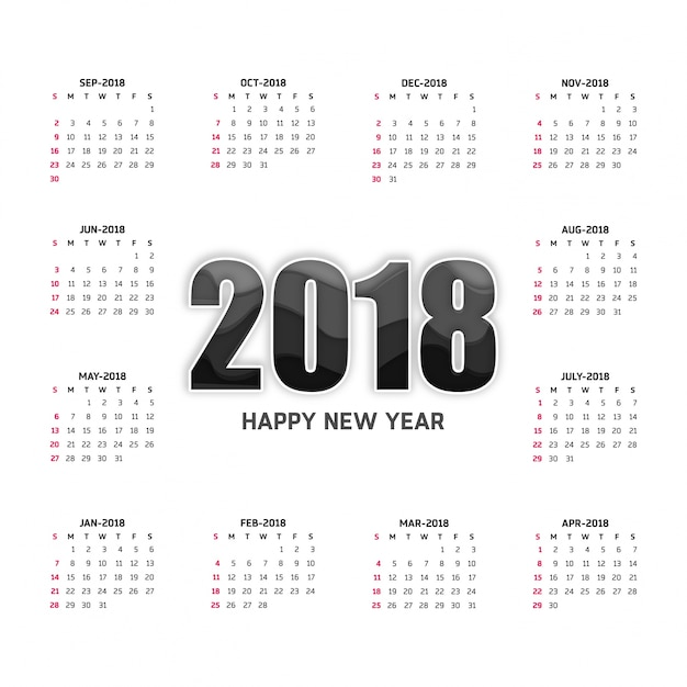 Calendario blanco para 2018 Vector Gratis