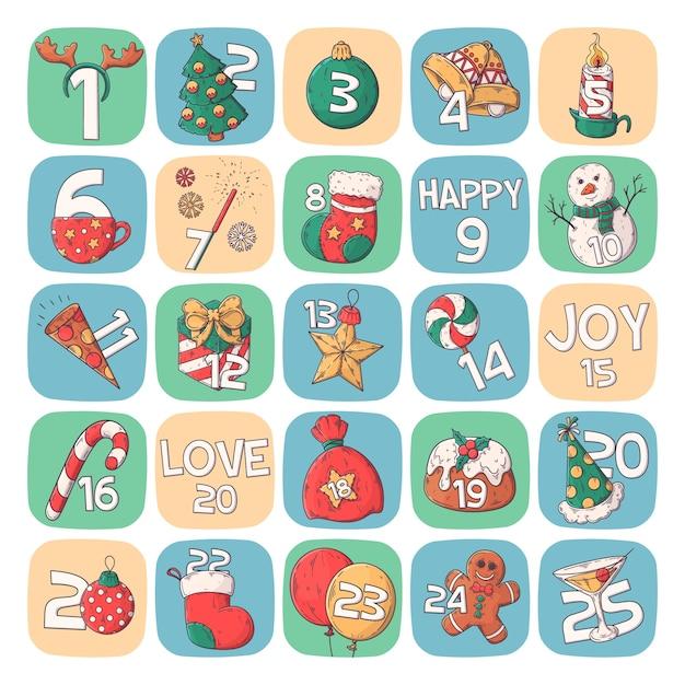 Calendario de carteles de vacaciones de invierno vector gratuito