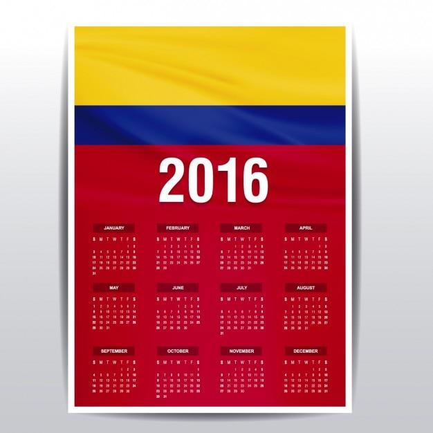 Calendario Colombiano.Calendario De Colombia De 2016 Descargar Vectores Gratis