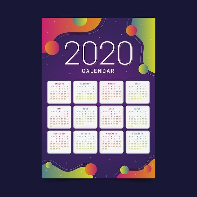 Calendario colorido año nuevo 2020 vector gratuito