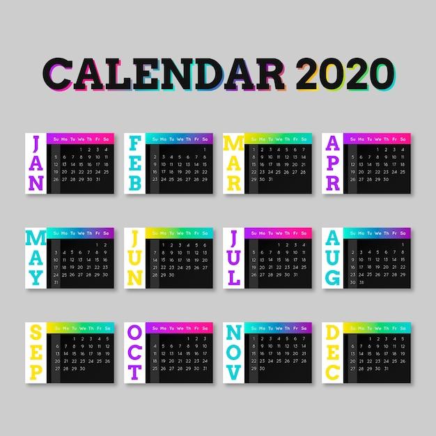 Calendario colorido para la plantilla 2020 vector gratuito