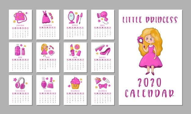 Calendario de cosas de chicas Vector Premium