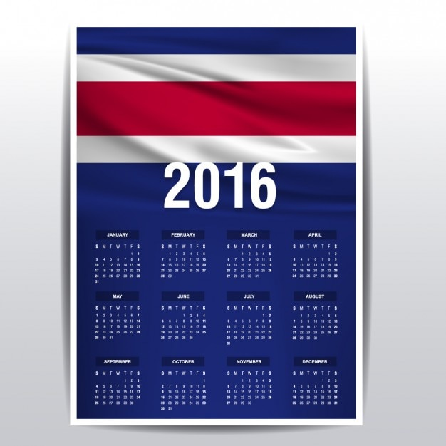 Calendario de costa rica de 2016 vector gratuito