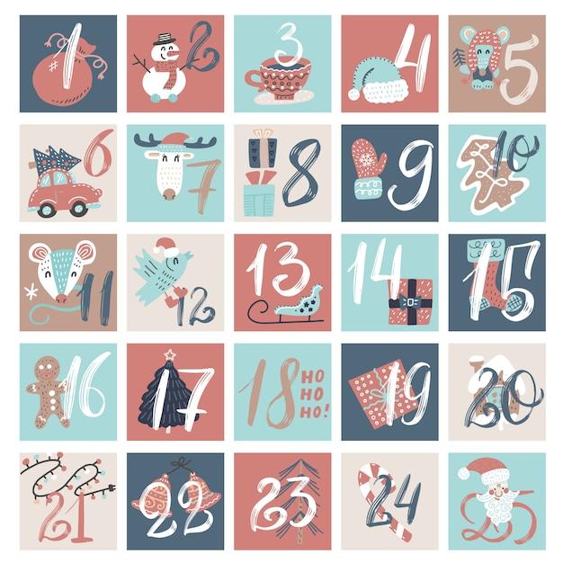 Calendario de cuenta regresiva de diciembre, dibujos animados de invierno creativo de víspera de navidad con números. Vector Premium