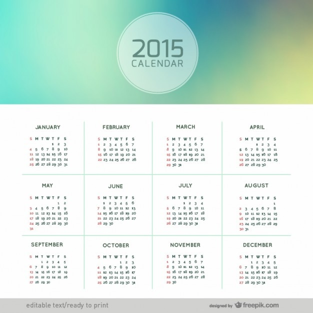 Calendario de 2015 abstracto Vector Gratis