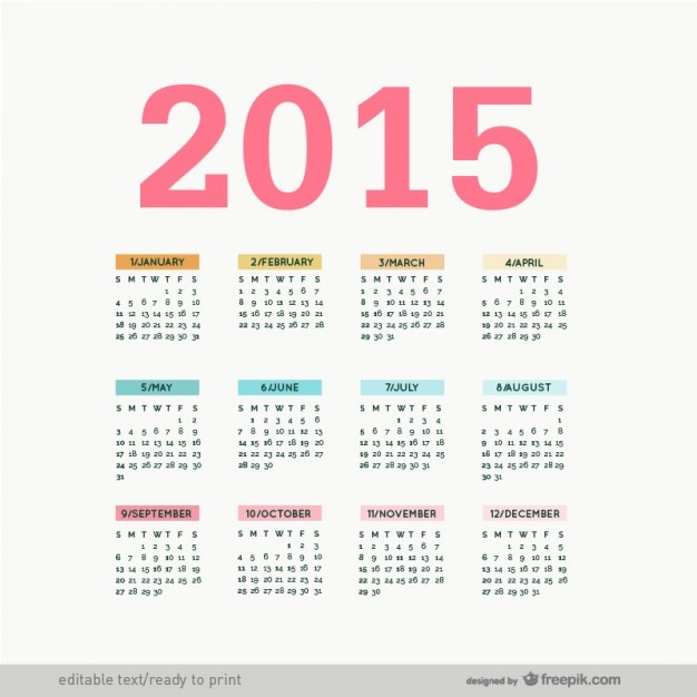 Calendario de 2015 editable | Descargar Vectores gratis