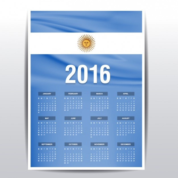 Calendario de 2016 de bandera de Argentina | Descargar Vectores gratis