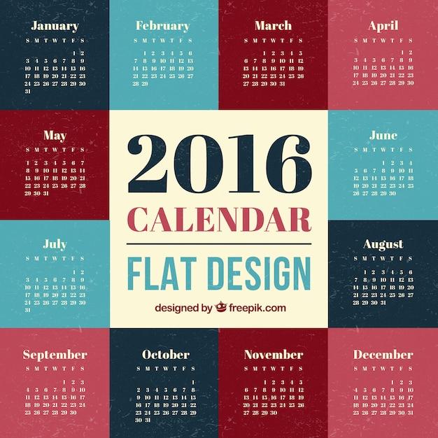 Calendario de 2016 de dise o plano descargar vectores gratis - Disenos de calendarios ...