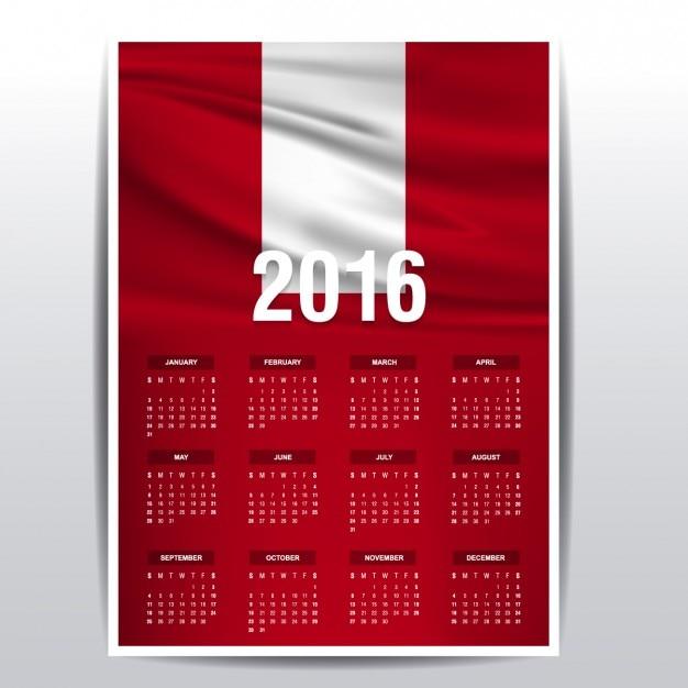 Calendario de 2016 de la bandera de Perú | Descargar Vectores gratis