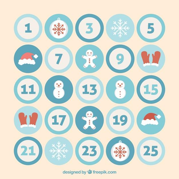 calendario de adviento con elementos navideos en crculos vector gratis