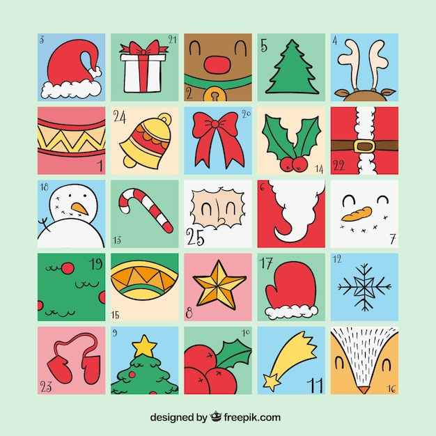 Calendario de adviento con objetos tradicionales de navidad descargar vectores gratis - Objetos de navidad ...