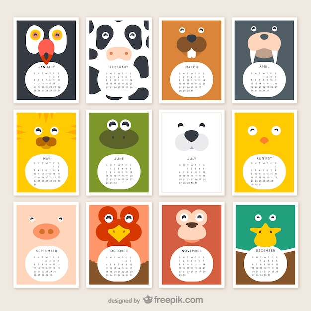 Calendario de animales 2015 Vector Gratis