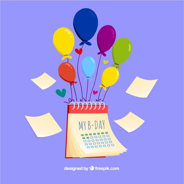 calendario de cumpleaos con globos vector gratis