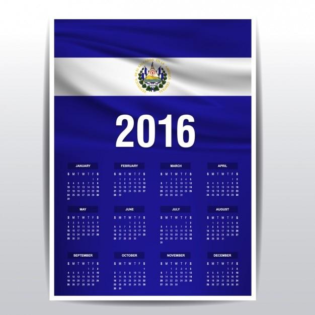 Calendario de El Salvador de 2016 | Descargar Vectores gratis