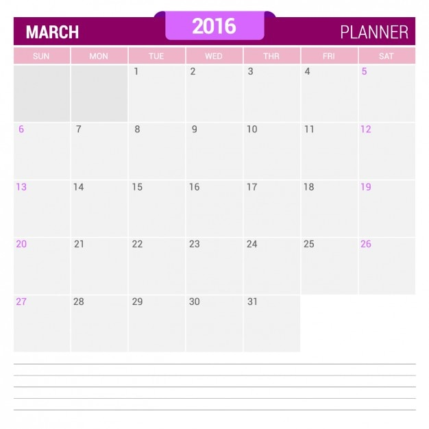 Calendario de marzo 2016 Vector Gratis
