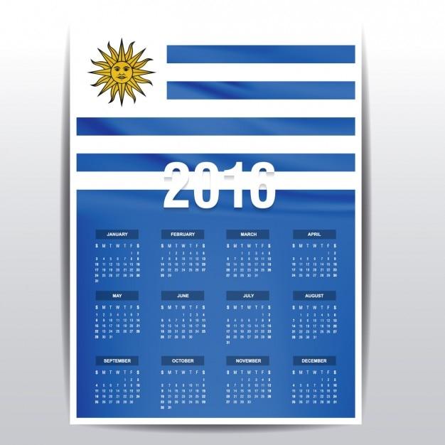 Calendario de Uruguay de 2016 | Descargar Vectores gratis