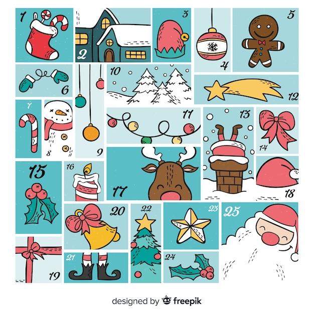 Calendario decorativo de navidad vector gratuito