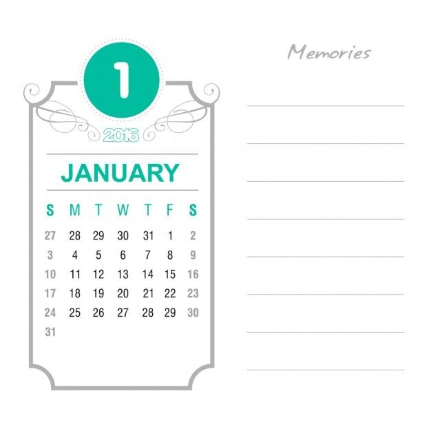Calendario enero 2016 vintage | Descargar Vectores gratis
