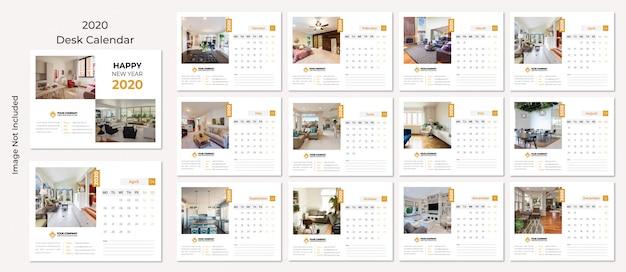 Calendario de escritorio 2020 Vector Premium