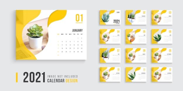 Calendario de escritorio para 2021, diseño de calendario de escritorio limpio y mínimo 2021 Vector Premium