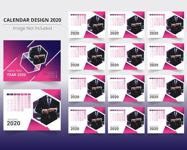 Calendario de escritorio con hermosa gradiant Vector Premium
