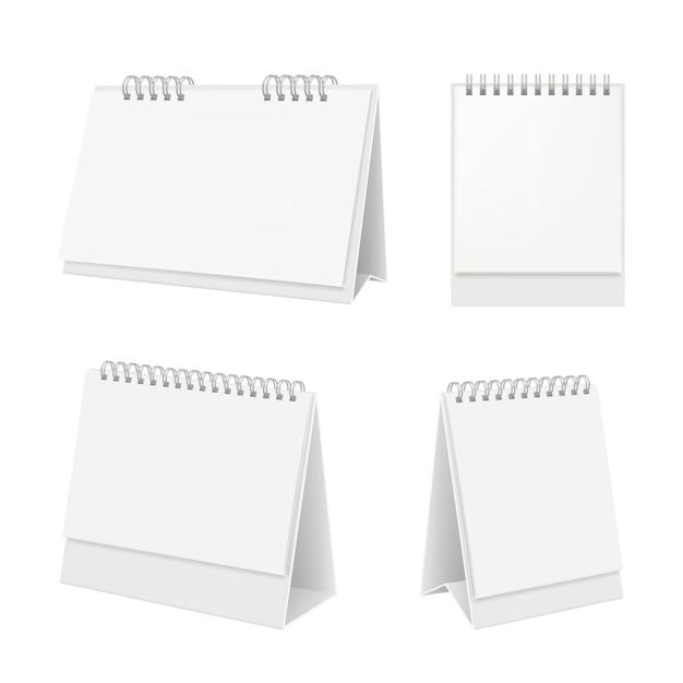 Calendario de escritorio organizador con calendario diario de páginas en blanco sobre maqueta realista de mesa Vector Premium