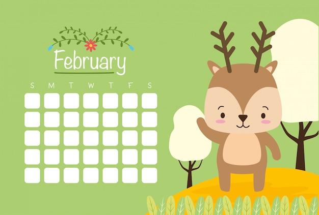 Calendario de febrero con lindo reno, estilo plano vector gratuito