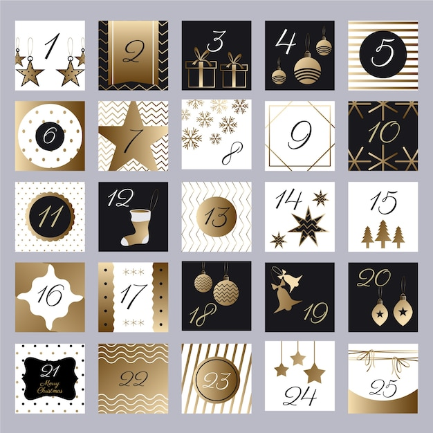Calendario festivo dorado de adviento vector gratuito