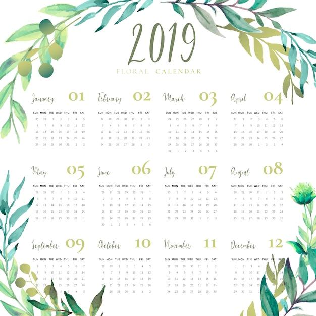 Calendario floral 2019 con hojas de acuarela. vector gratuito