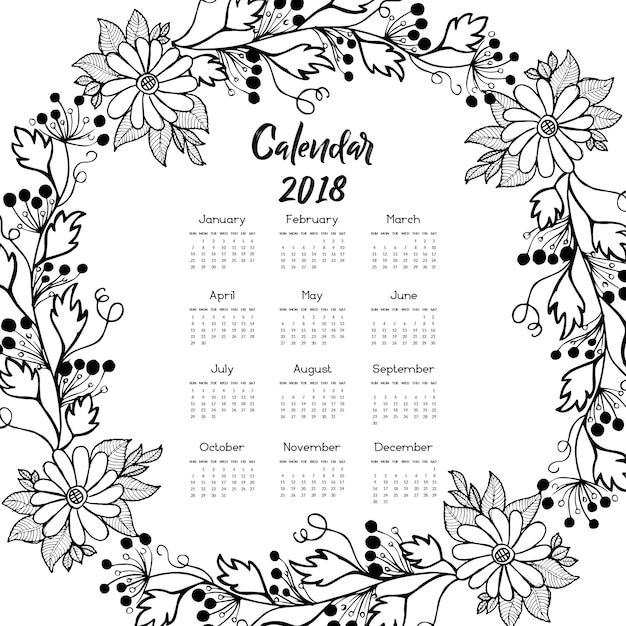 February 2018 Calendar Vintage : Calendario floral blanco y negro de la guirnalda