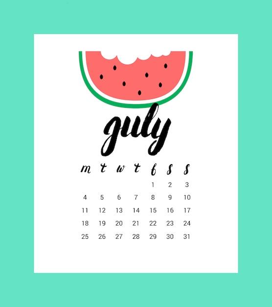 Calendario para julio 2016. Vector Premium