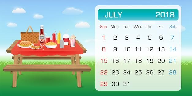 Calendario Julio 20019.Calendario De Julio Muestra 2018 Mes Tema Al Aire Libre De