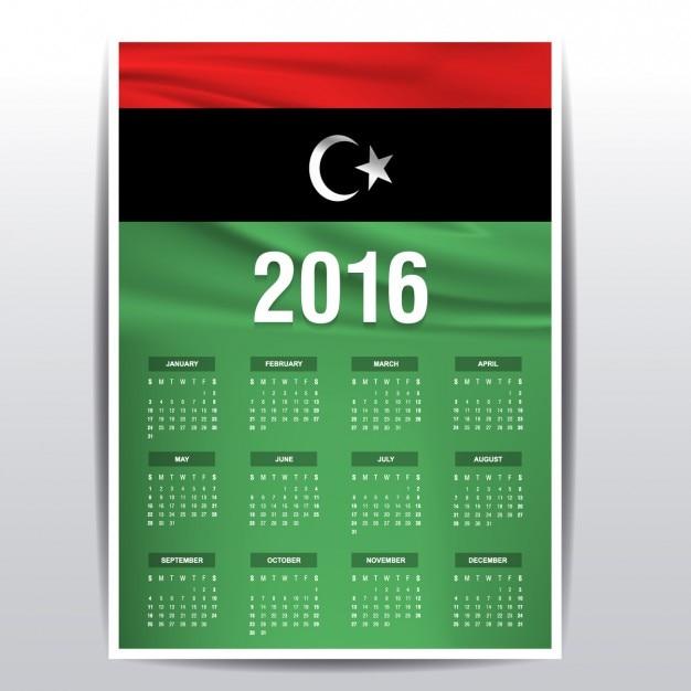Calendario de libia de 2016 vector gratuito
