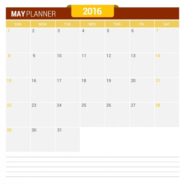 Calendario mayo 2016 Vector Gratis