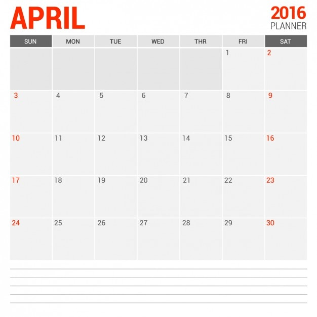 Calendario mensual abril 2016 Vector Gratis
